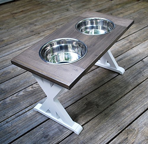X-Large Trestle Style Farmhouse Dog Bowl Stand by BillsCustomBuilds