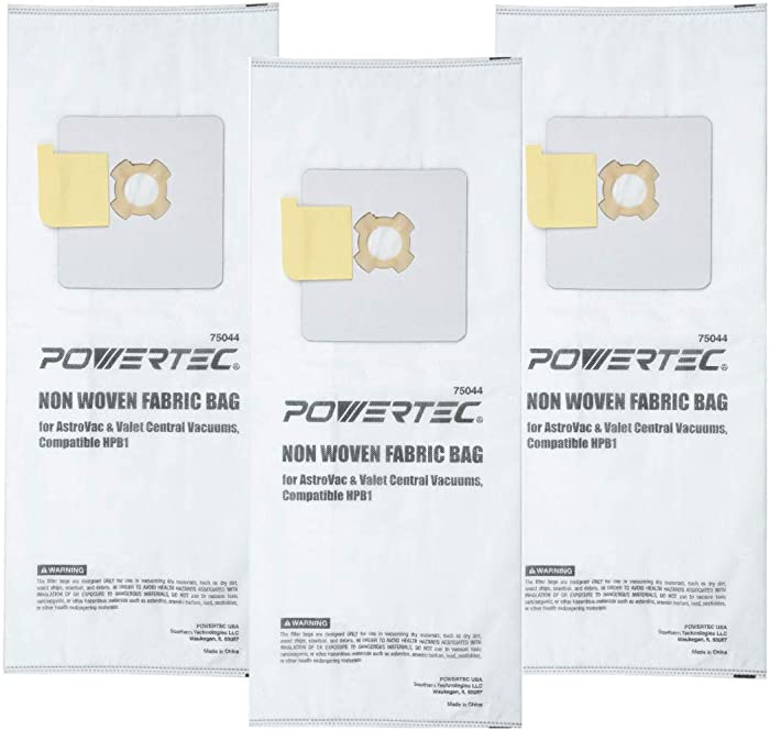 POWERTEC 75044 Sealed Paper Filtered Vacuum Bag | Replacement HPB1 Style Bags | Central Vacuum Bags Fit AstroVac Valet & VacuMaid Model – 3 PK | 3 Layer Non Woven fabric Bag