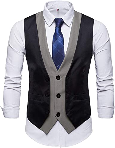 MODOQO Paisley Suit Vest for Men-Casual Slim Fit V-Neck Solid Color Waistcoat