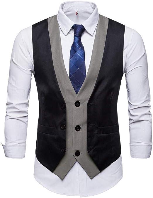 Amazon.com: MODOQO - Chaleco para hombre con chaleco formal ...