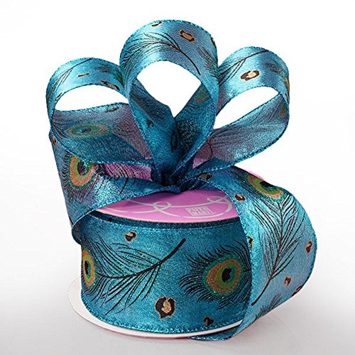Peacock Feathers Sheer Wired Ribbon - 2 1/2 Inches Wide - 10 Yards (56136809)