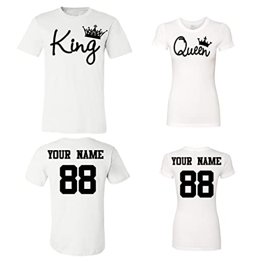 King Queen Customized Couple Shirts, Custom Names and Numbers Plaid Army  Anniversary Wedding Matching T 674bfc071cbd
