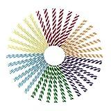 Tpingfe 200PCS Drink Paper Straws Birthday Party Supplies Theme Drinking Rainbow Straws
