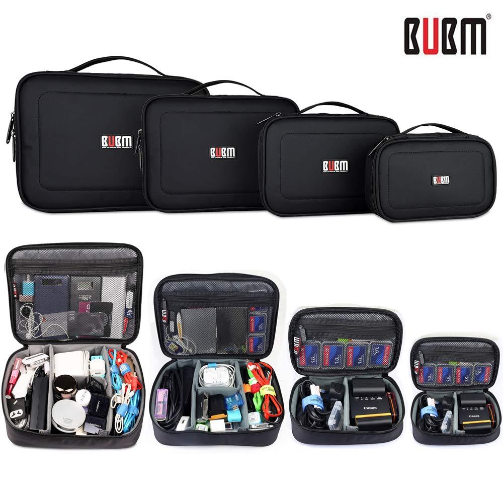 BUBM 4pcs/Set Travel Electronic Organizer Gadgets Electronics Accessories Storage Bag for Memory Card USB Battery Power Bank Flash Hard Drive Safe Space Cord Organizer(Black)