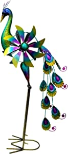 Oritty Metal Peacock Wind Spinner Garden Statue and Sculpture for Outdoor Patio Yard Lawn Decor, 1-Piece