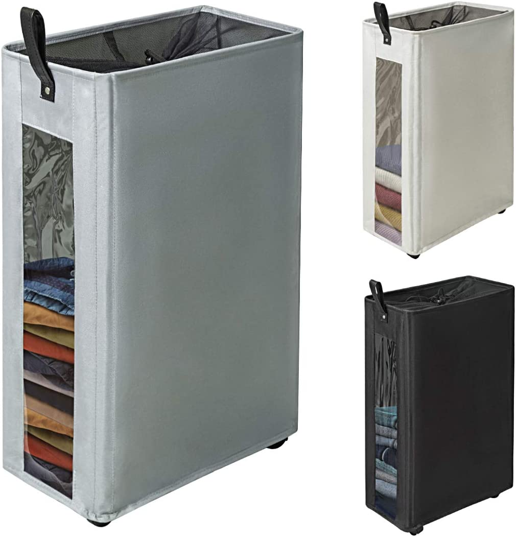 "ZERO JET LAG 27 inches Slim Laundry Hamper Large Tall Laundry Basket on Wheels Clear Window Visible Dirty Clothes Hamper Thin Clothes Storage Standable Corner Bin Handy 16""×8.6""×27"" Grey"