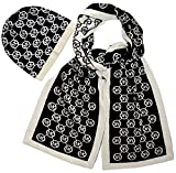Michael Kors Women's 2 Piece Scarf and Hat Set Black/White