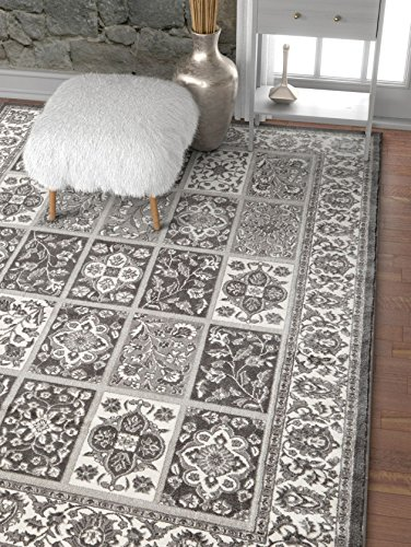 Well Woven Angora Garden Grey Modern Floral Panel Area Rug 4x5 (3'11