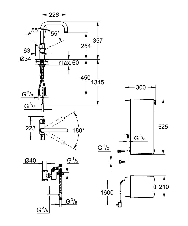 Grohe Red Duo Armatur Und Kombi Boiler 8 Liter U Auslauf 30156000 Ips Ups Circuit Diagram Baumarkt