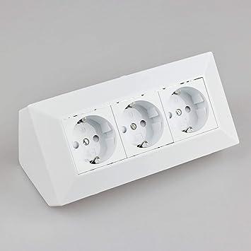 Steckdose für Küche und Büro - Ecksteckdose aus hochwertigem Kunststoff  ideal für Arbeitsplatte, Tischsteckdose oder Unterbausteckdose mit 3-fach  ...