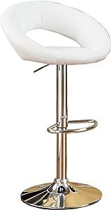 Poundex Two Piece PU Round Shape Barstool Set, White Adjustable Bar Stool