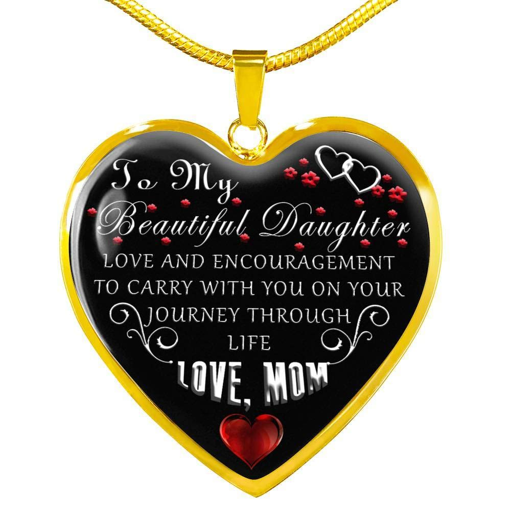 Girls Jewelry for Daughter from Mom On Anniversary Day Luxury Gift I Love You to My Daughter Heart Pendant