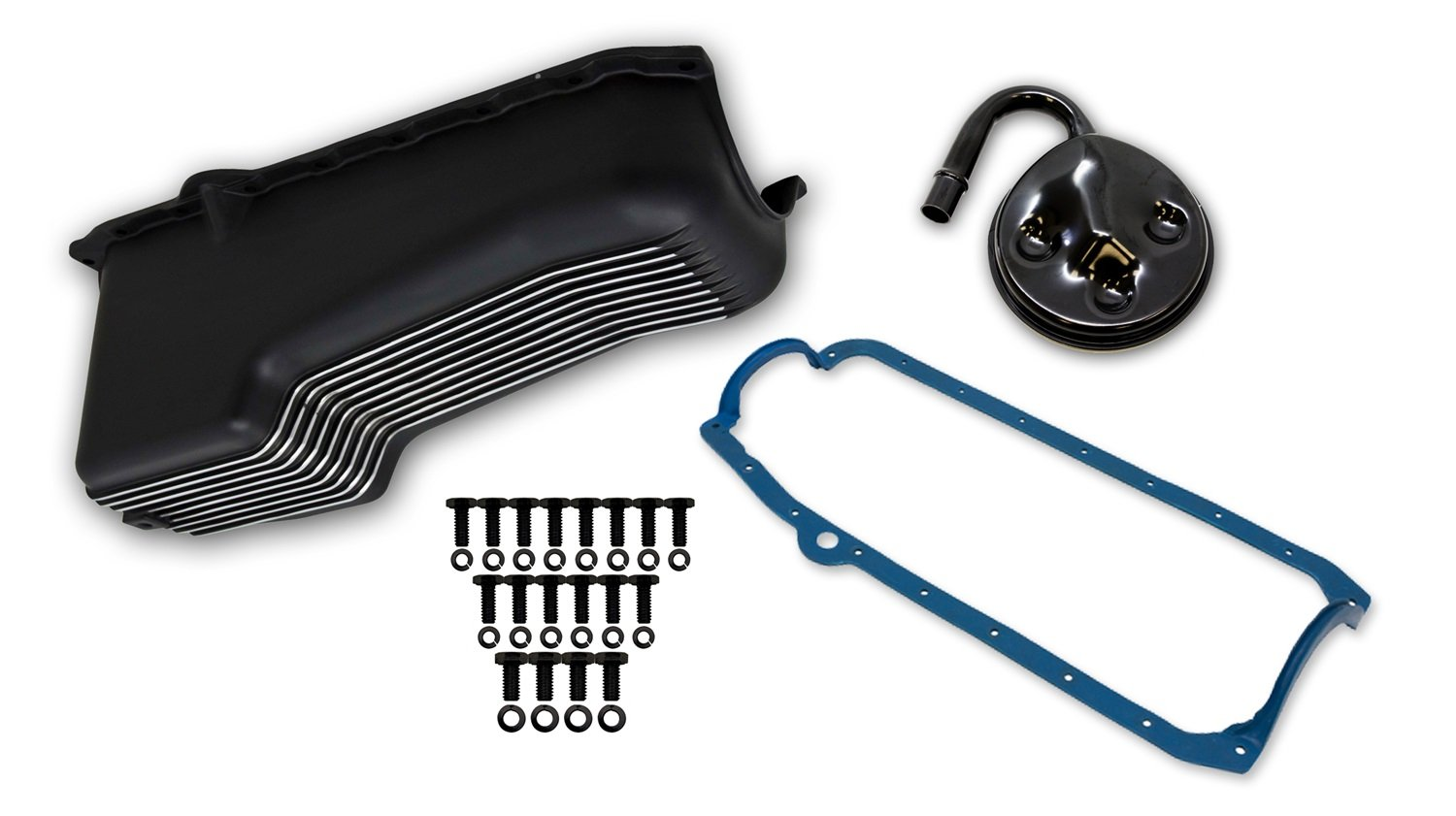 Oil Pan//Gasket//Pump Pickup//Hardware Black Finish Aluminum Oil Pan Kit Weiand 6002FWND Aluminum Oil Pan Kit 4 Quart Finned Aluminum Incl