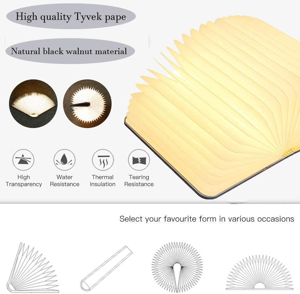 USB Large Capacity Rechargeable Wooden Table Lamp Lamp Book Large Size Folding Mood Light 6.5 x 4.9 x 1 in Novelty LED Night Light