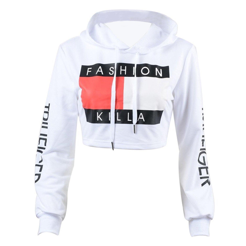 U-WARDROBE Casual Hoodie Literal Printing Sport Crop Top Sweatshirt Jumper Pullover Tops White S