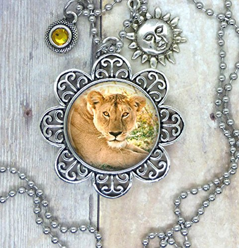 Lions, Big Cats, Lovely Image Necklace adorned with a Yellow Swarovski Crystal and Sunshine Charm. Perfect Gift for Animal Lovers. Also Available in a Backpack Clip Key Ring, Keychain or Purse Clip.