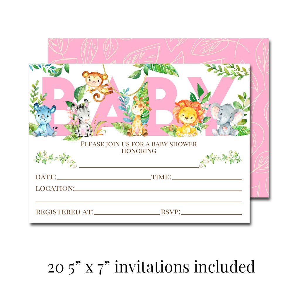 "Deluxe Watercolor Jungle Animals Baby Shower Party Bundle for Girls, Includes 20 each of 5''x7'' Fill In Invitations, Diaper Raffle Tickets, Bring a Book Cards & 2"" Thank You Favor Stickers w/ Envelopes by Amanda Creation (Image #1)"