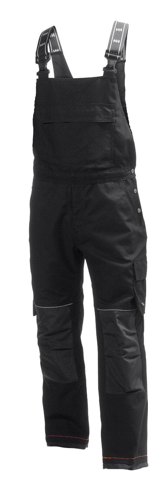 Helly Hansen Work Wear Men's Chelsea Construction Work Bib Pants, Black/Charcoal, 46Wx32L