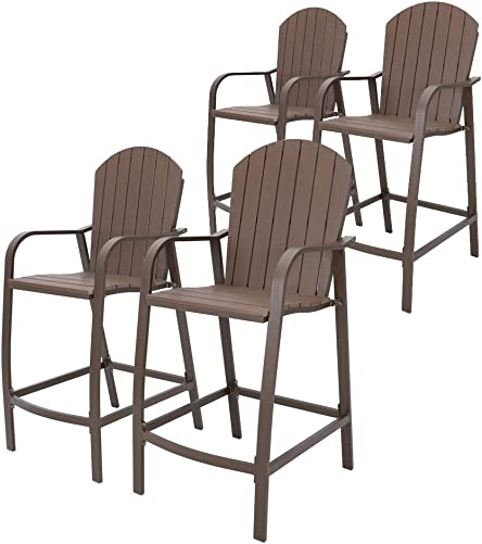 Crestlive Products Patio Wood Bar Stools Counter Height Chairs All Weather Furniture