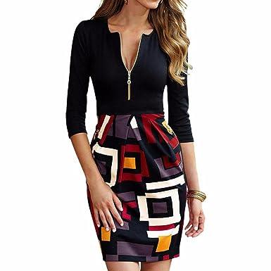 Zipper Stitching Geometric Kleid Frauen Baumwolle Bodycone Bleistift ...