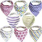 extra large snaps - Bandana Bibs For Girls – 8 Pack Baby Drool Bib Gift Set, Organic Cotton, 3 Snaps To Fit All Neck Sizes, Soft, Extra Absorbent, Easy To Clean, Perfect Baby Shower Gift Set