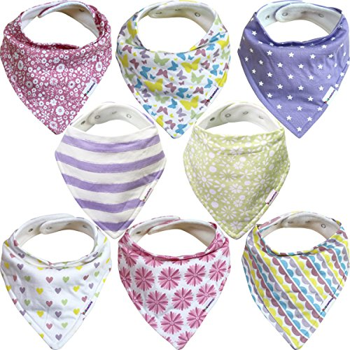Baby Bandana Bibs For Girls – 8 Pack Baby Drool Bib Gift Set Organic Cotton 3 Snaps To Fit All Neck Sizes Soft Extra Absorbent Easy To Clean Perfect Baby Shower Gift Set