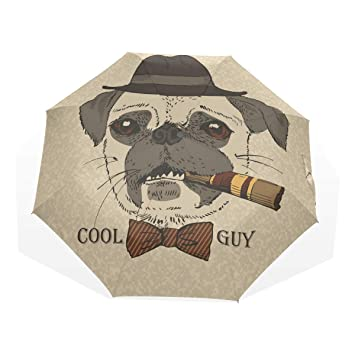 GUKENQ Retrato Perro Carlino Puro Guy Gangster Look Viaje Paraguas Ligero Anti UV Sun Lluvia Paraguas