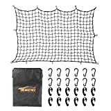 Towever 4'x6'Bungee Cargo net Pickup Truck Bed Long Stretches to 8'x12' 4'x4' mesh net Small Large Cargo Load Tight