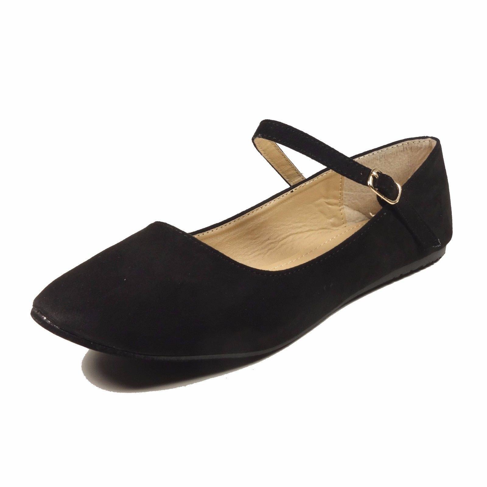 Nova Utopia Women's Mary Jane Style Ballet Flats,NFLA01 MJ BlackSuede 6h