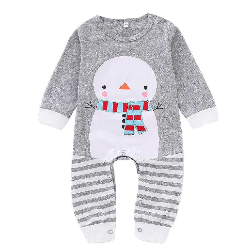 Jamicy /™ Newborn Baby Boys Girls Romper Jumpsuit Striped Clothes Infant Christmas Long Sleeve Snowman Print Bodysuit Pyjamas 0-24M