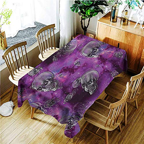 TT.HOME Water Resistant Table Cloth,Skull Horror Movie Thirller Themed Flying Skull Heads Halloween in Outer Space Image,Modern Minimalist,W60x120L,Black and Purple]()