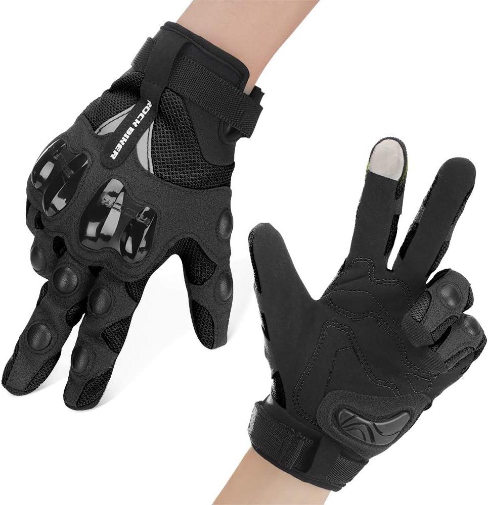 Guantes Moto Verano Mujer Hombre Guantes Moto con Protección Dedo Completo Antideslizante