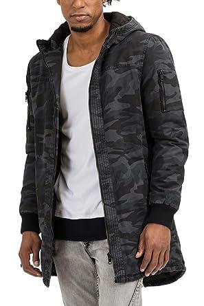 trueprodigy Casual Herren Marken Parka camuflage Military Herrenjacke Cool Stylisch Kapuze sportlich Slim Fit Jacke Männer