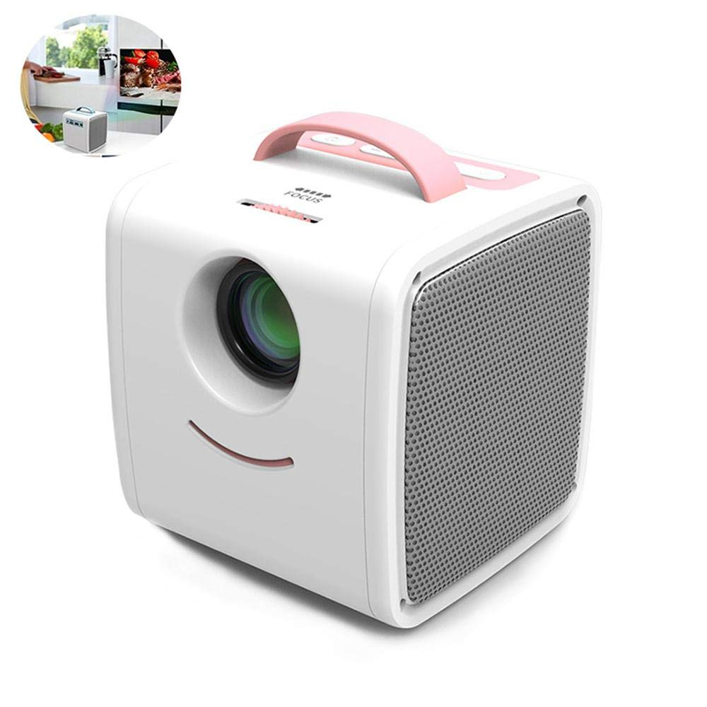 Pawaca Kids Cube Mini Portable Projector with 1080p LED HD Quality, Children Education Projector Mini Video Movie Home Beamer Support HDMI, USB, and TF Port for Home, Office, Movies and Gaming by Pawaca