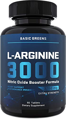 L-Arginine Nitric Oxide Booster – Male Enlargment Pills for Men – Nitric Oxide for Strength Workout Supplements for Men – for Muscle Growth, Vascularity, Endurance 90 Tablets 3150mg