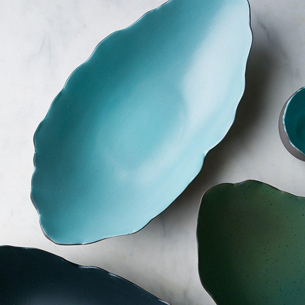 He Xiang Ya Shop Japanese style ceramic plate blue breakfast plate fruit salad plate long fish dish home soup plate by He Xiang Ya Shop (Image #2)