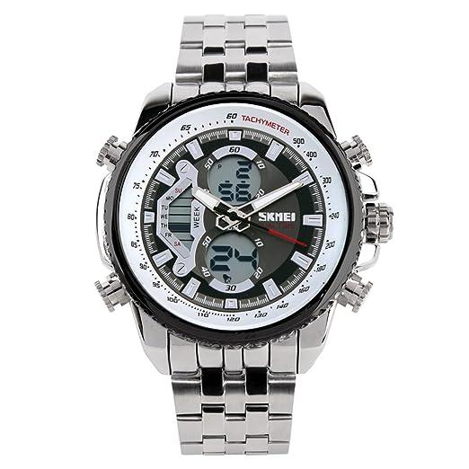 Reloj Dual/Reloj de Buceo Acero de los Hombres/Multifuncionales Relojes-B: Amazon.es: Relojes