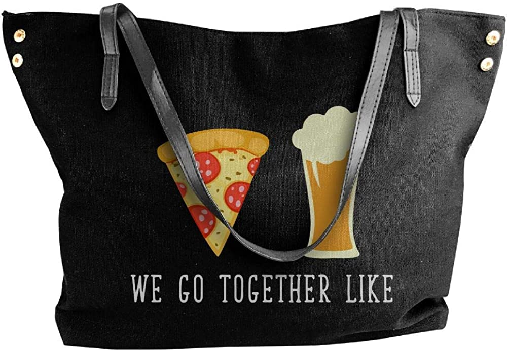 Womens Canvas Shoulder Bag,Pizza And Beer 1 Casual Work Bag For Ladies