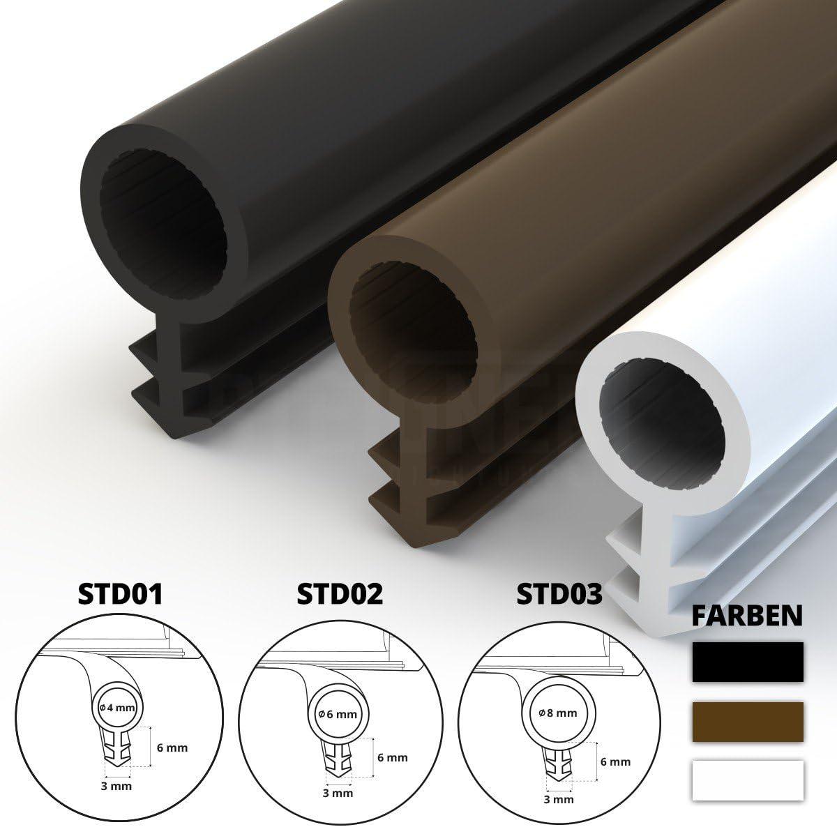 STEIGNER Joint de Porte et de Fen/être STD03 20 m 8 mm Joint d/Étanch/éit/é en Caoutchouc Marron PVC Aluminium