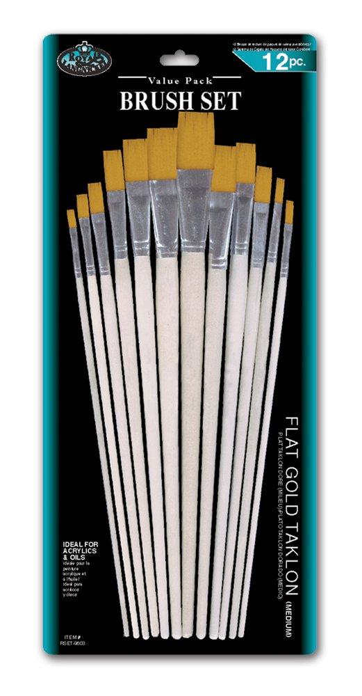 Royal and Langnickel - Confezione da 12 pennelli piatti, a manico lungo, con setole in taklon, colore: Oro Royal Brush Mfg RSET-9603