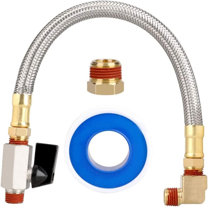 INNKER Extended Tank Drain Valve Assembly Kit Garden Hose Faucet Flexible Gas Connector Braided Steel Tube with Thread Seal Tape for Air Compressor Drain Valves