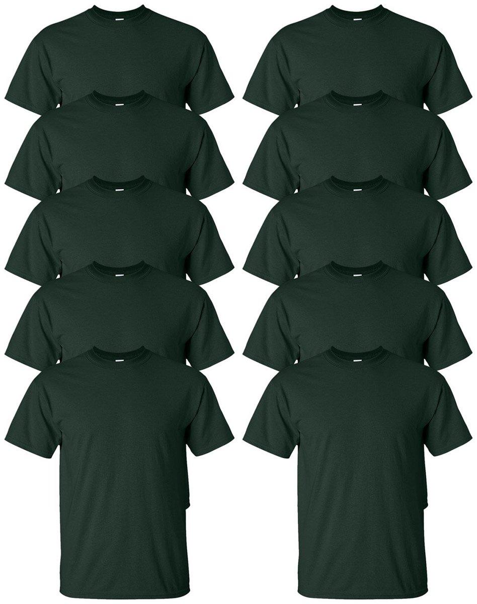 Gildan Men's Ultra Cotton T-Shirt_Forest Green_5XL (Pack of 10)