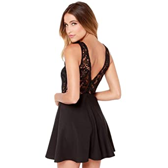 Sonnena - Vestido informal para mujer con espalda al aire, vestido perfecto para el verano, para ir a un fiesta de graduación, una fiesta, vestido corto con ...