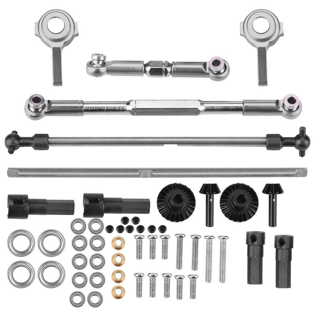 Titanium Grey Front Rear Gear Steering Rod, Metal Knuckle Drive Shaft Set for WPL 1610 RC Truck(Black)