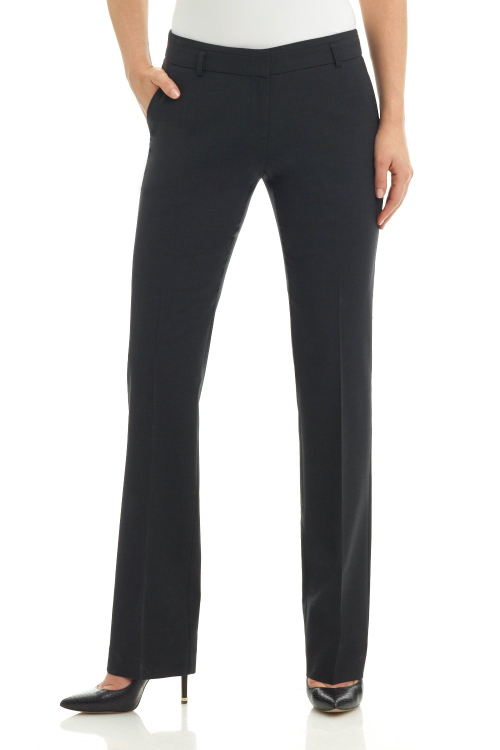 Rekucci Collection Women's Straight Leg Dress Pant with Double Loops (14,Charcoal)