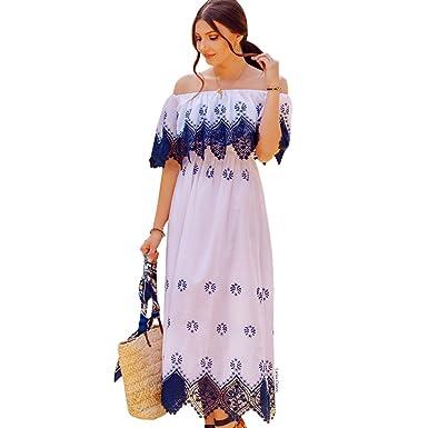 7f90ee85306 Chicwish Women s Off-Shoulder Navy Crochet Elastic Midi Dress at ...