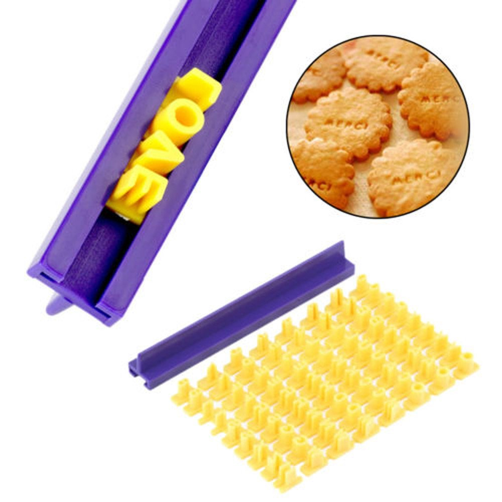 2019 New Alphabet Letter Number Cake Mould Biscuit Cookie Press Stamp DIY (Yellow)
