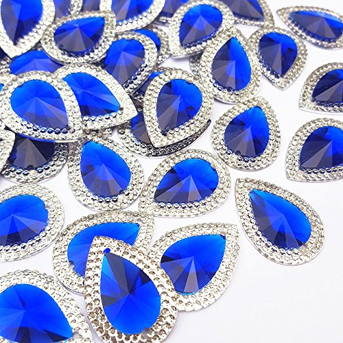 - 18x25mm 50pcs Loose Beads Rhinestones Drop Shape Blue Color With Silver Edge Gems Stones and Crystals Wedding Decoration Sew-On For Stick-On Dance Costumes Shoes Bag Sewing 2 Holes
