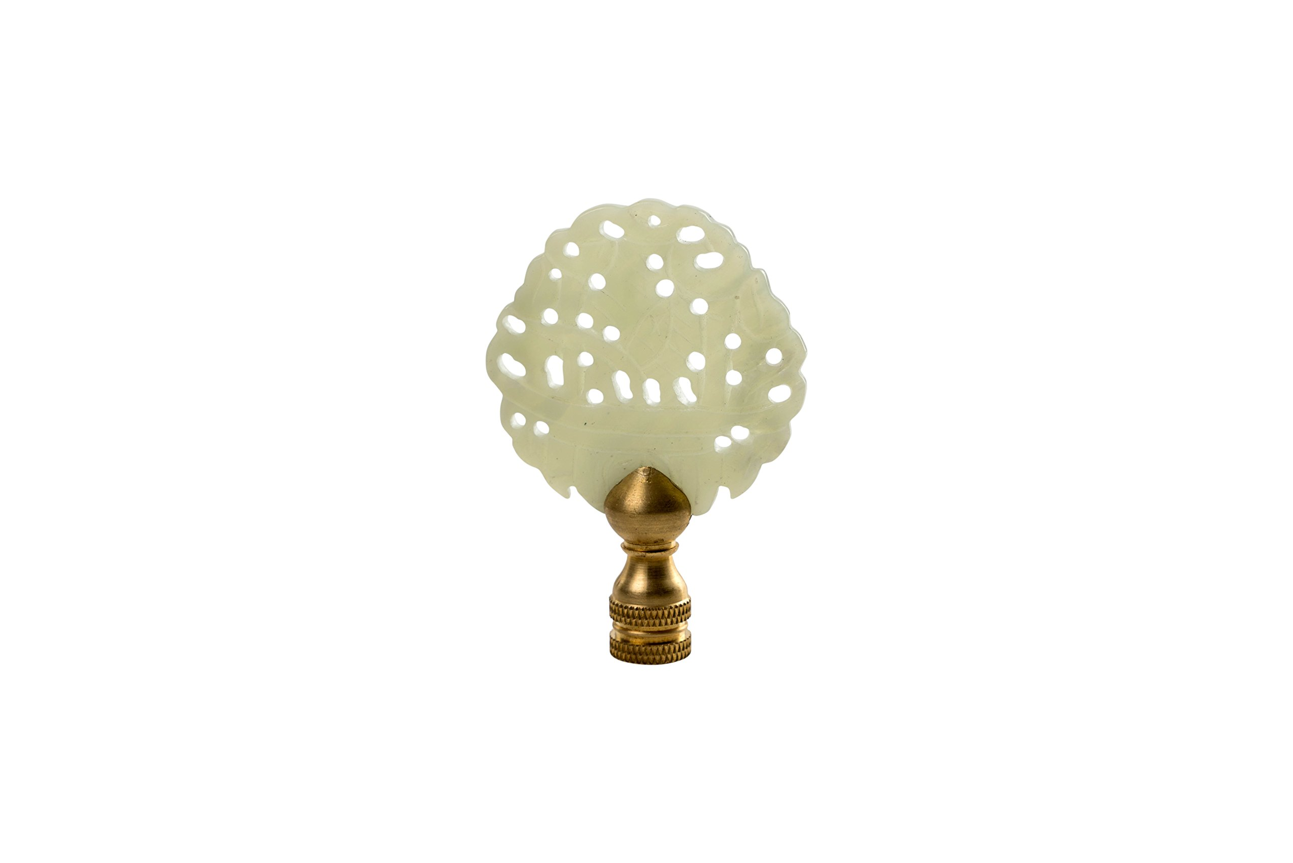 Beautiful Vintage Style Hand Carved Green Jade Pierced Lamp Finial 3'' by Asian Style Furnishing (Image #1)