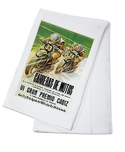 Motorcycle Racing - Vintage Advertisement (100% Cotton Kitchen Towel)